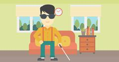 Blind man with stick vector illustration Stock Illustration