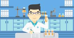 Laboratory assistant working vector illustration - stock illustration