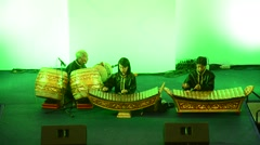 Thai students band playing traditional thai musical instruments concert show Stock Footage