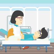Doctor touching abdomen of male patient Stock Illustration