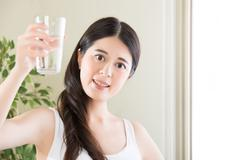 You purge out all the sweat with you're drinking water Stock Photos