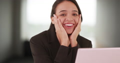 Extremely excited latina woman intern gets offered a job Stock Footage