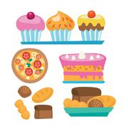 Pizza and assortment of sweet pastry - stock illustration