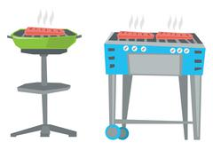 Kettle barbecue grill and barbecue gas grill Stock Illustration