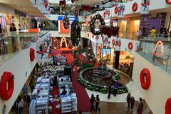 Christmas decorations in Plaza Merdeka. Kuching Stock Photos