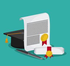 graduation cap diploma graduate icon - stock illustration