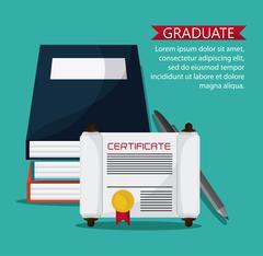 graduation cap diploma pen icon - stock illustration