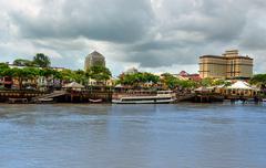View of Kuching city waterfront Stock Photos