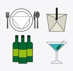 catering service menu food icon - stock illustration