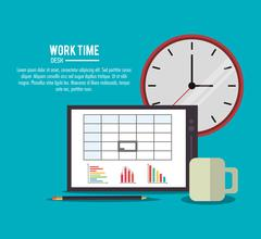 tablet office work time supply icon, vector - stock illustration
