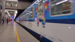 Train arrival at Warsaw centrum station, Poland - Panoramic Stock Footage