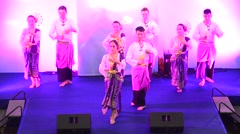 Actor and actress thai people dance dancing thai style for show Stock Footage