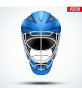 Classic blue Goalkeeper Hockey field Helmet isolated on Background Stock Illustration