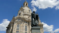 The Dresden Frauenkirche - Church of Our Lady and Martin Luther statue. Germany. Stock Footage
