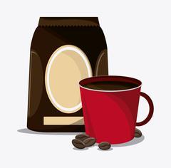 Coffee mug cup bag shop beverage icon vector - stock illustration