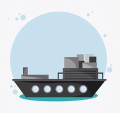 Ship transportation vehicle travel, vector - stock illustration