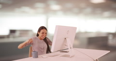 Mexican businesswoman reaching her goal at work Stock Footage