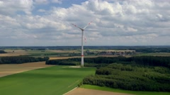 Wind power plant near Mammendorf, Bavaria, Germany, Europe Stock Footage