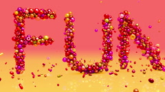 Fun. 3d animation. Birthday, celebration, vacation, holiday  background with tex Stock Footage