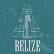 Belize landmarks. Retro styled image Stock Illustration
