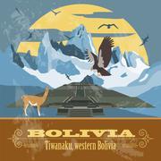 Bolivia landmarks. Retro styled image Stock Illustration