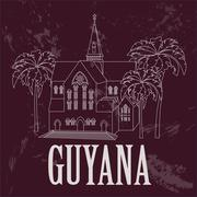 Guyana  landmarks. Retro styled image.  Cathedral of St. George, Georgetown. Stock Illustration