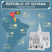 Guyana infographics, statistical data, sights. Cathedral of St. George, Georg Stock Illustration