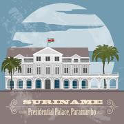 Suriname landmarks. Presidential Palace in Paramaribo. Retro styled image Stock Illustration