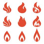 Set of fire icon, flame of fire illustration Stock Illustration