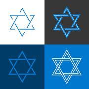 Star of David, Star of Israel sign and symbol, flat design vector Stock Illustration