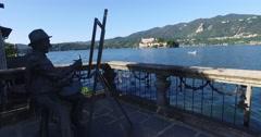 San Giulio Island, Lake Orta, Piedmont, Italy Stock Footage