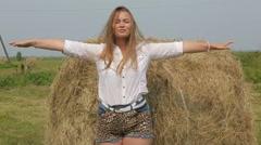 Beautiful girl enjoying fresh air, relaxation exercise slow mo Stock Footage