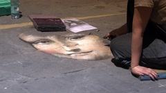 Street Artist drawing portrait of Mona Lisa in Siena,ULTRA HD 4K, real time Stock Footage
