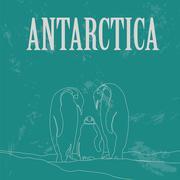 Antarctica. South Pole. Retro styled image Stock Illustration
