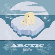 Arctic (North Pole). Retro styled image Stock Illustration