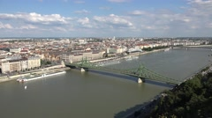 View over the Liberty Bridge on the River Danube, Budapest, Hungary. Stock Footage
