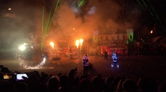 Firework monster show, fire night festival in Moscow, Russia Stock Footage