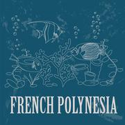 French Polynesia. Retro styled image Stock Illustration