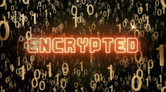 Golden Encrypted concept with digital code Stock Footage