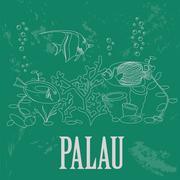 Palau. Retro styled image Stock Illustration