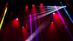 Rock concert and disco party stage lights Stock Footage
