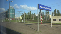 Train arrival at station, passenger inside wagon POV - Warsaw Zachodnia, Poland Stock Footage