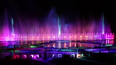 Dancing fountains and laser show Stock Footage