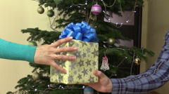 Male man hand give present gift box with ribbon for female woman Stock Footage