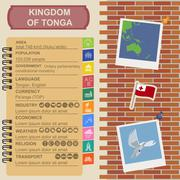 Tonga  infographics, statistical data, sights. Dove with olive branch Stock Illustration