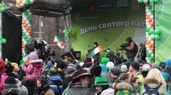 Celebration of irish St. Patrick's Day in Moscow, Russia Stock Footage