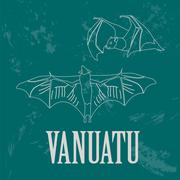 Vanuatu. Flying fox. Retro styled image. Stock Illustration