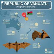 Vanuatu  infographics, statistical data, sights. Flying fox Stock Illustration