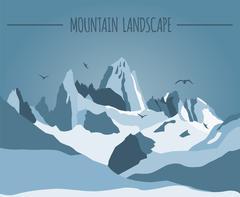 Mountain landscape graphic template Stock Illustration