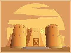 City buildings graphic template. Tajikistan fortress. Stock Illustration